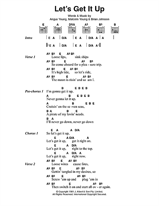 Download AC/DC Let's Get It Up sheet music and printable PDF score & Pop music notes
