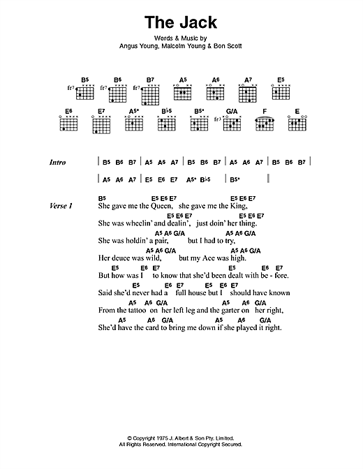 Download AC/DC The Jack sheet music and printable PDF score & Pop music notes