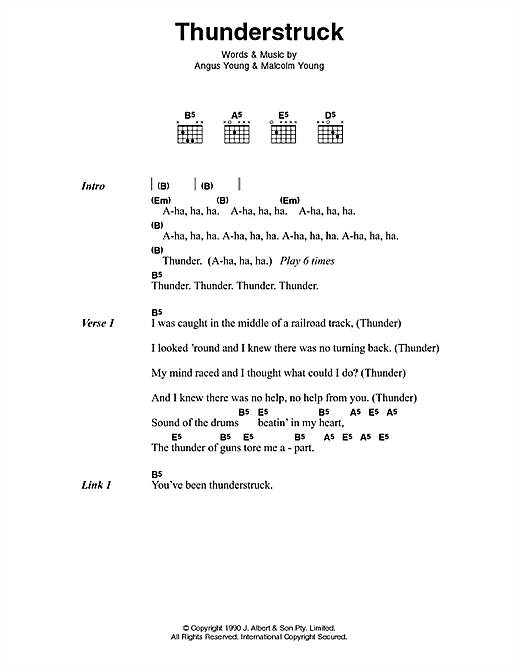 Download AC/DC Thunderstruck sheet music and printable PDF score & Pop music notes