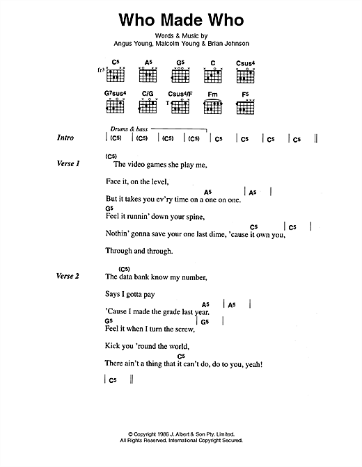 Download AC/DC Who Made Who sheet music and printable PDF score & Pop music notes