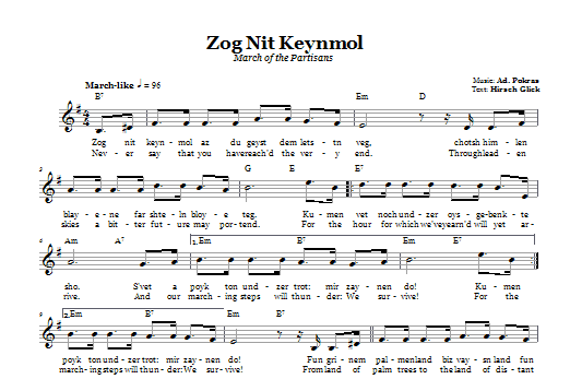 Download Ad. Pokras Zog Nit Keynmol (March Of The Partisans) sheet music and printable PDF score & Religious music notes
