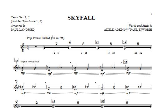 Adele 'Skyfall (arr  Paul Langford) - Tenor Sax 1 & 2' Sheet Music Notes,  Chords | Download Printable Choir Instrumental Pak - SKU: 319230
