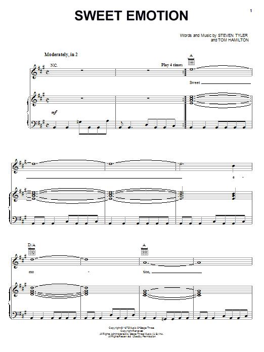 Download Aerosmith Sweet Emotion sheet music and printable PDF score & Pop music notes