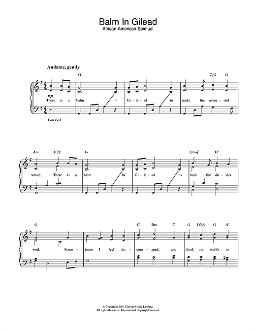 Download African-American Spiritual Balm In Gilead sheet music and printable PDF score & Hymn music notes