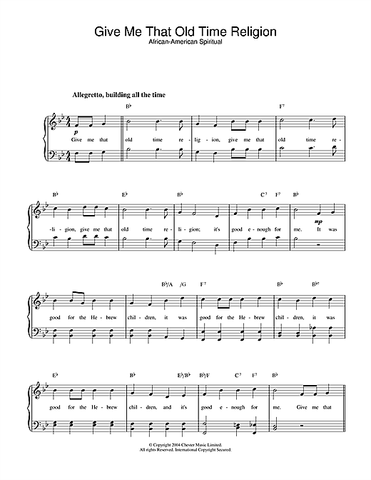 Download African-American Spiritual Give Me That Old Time Religion sheet music and printable PDF score & Folk music notes