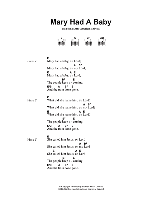 Download African-American Spiritual Mary Had A Baby sheet music and printable PDF score & Religious music notes