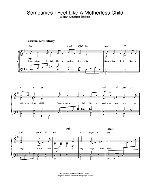 Download African-American Spiritual Sometimes I Feel Like A Motherless Child sheet music and printable PDF score & Religious music notes