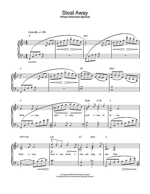 Download African-American Spiritual Steal Away sheet music and printable PDF score & Hymn music notes
