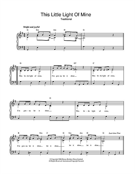 Download African-American Spiritual This Little Light Of Mine sheet music and printable PDF score & Hymn music notes
