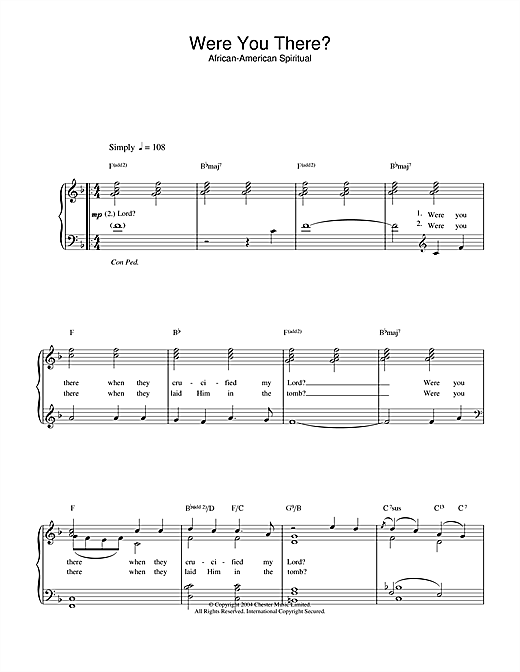 Download African-American Spiritual Were You There? sheet music and printable PDF score & Hymn music notes