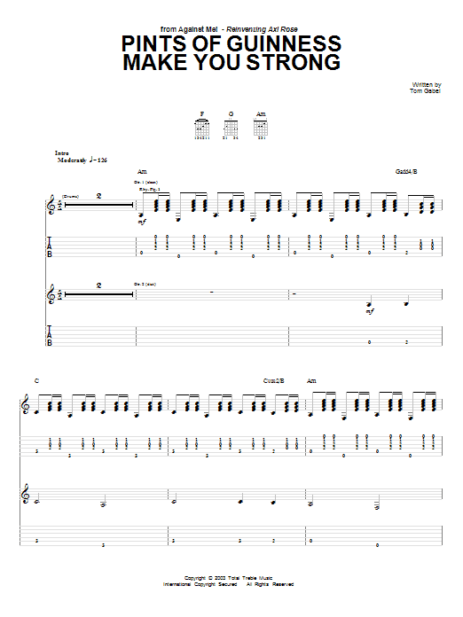 Download Against Me! Pints Of Guinness Makes You Strong sheet music and printable PDF score & Pop music notes