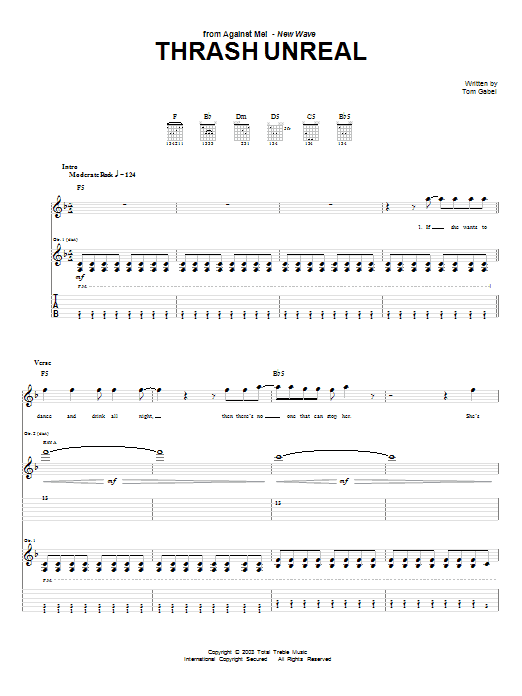 Download Against Me! Thrash Unreal sheet music and printable PDF score & Pop music notes