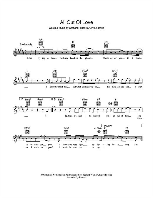 Download Air Supply All Out Of Love sheet music and printable PDF score & Rock music notes
