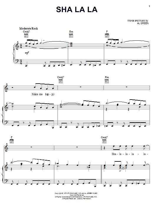 Download Al Green Sha La La sheet music and printable PDF score & Soul music notes