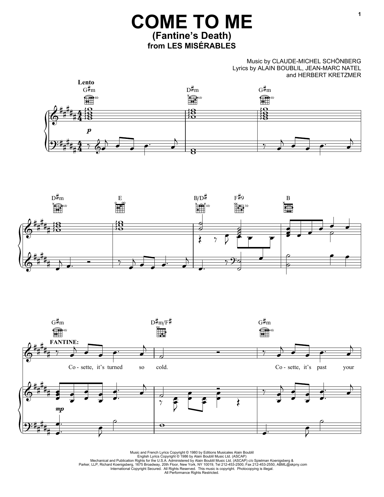 Download Alain Boublil Come To Me (Fantine's Death) sheet music and printable PDF score & Broadway music notes