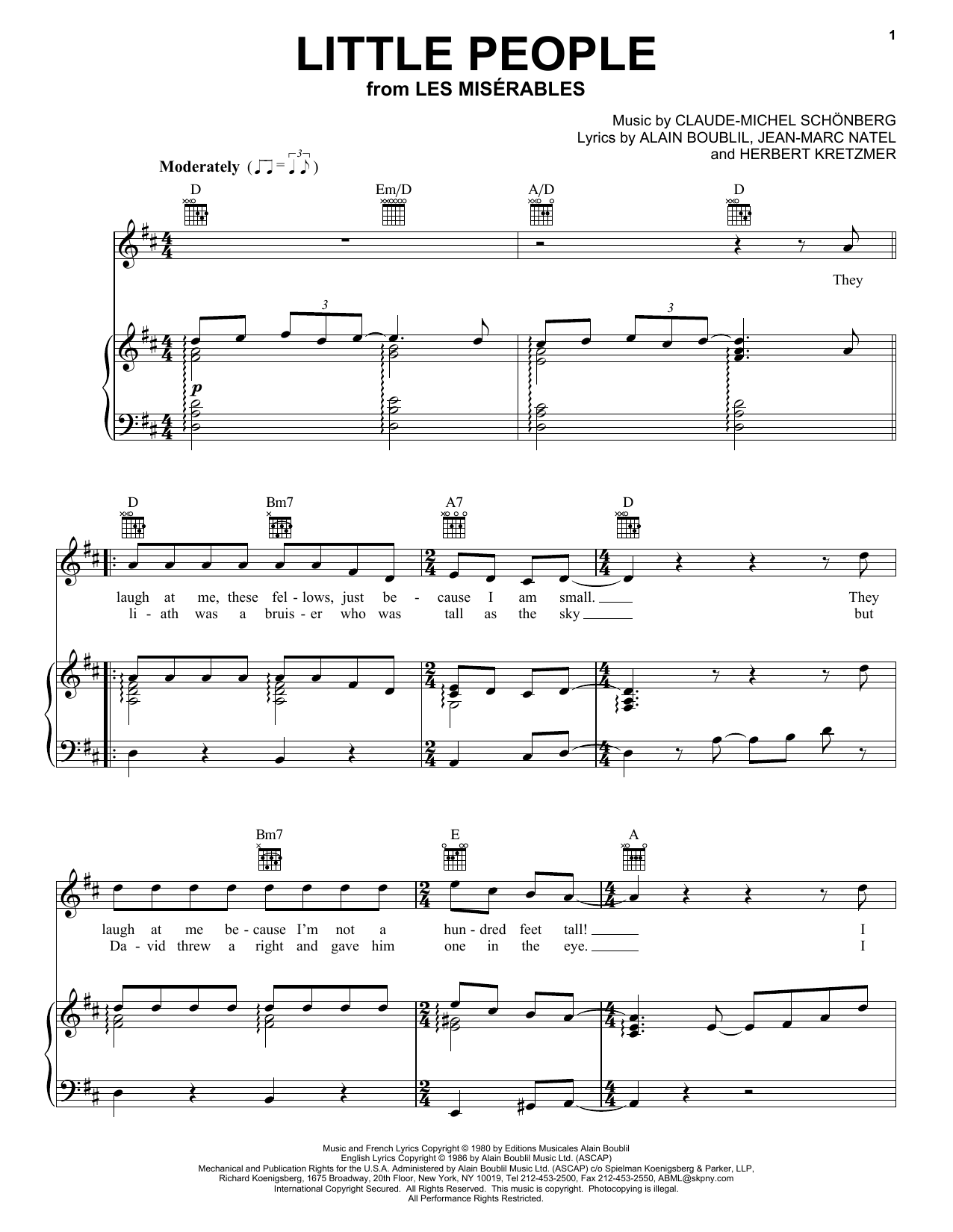 Download Alain Boublil Little People sheet music and printable PDF score & Broadway music notes