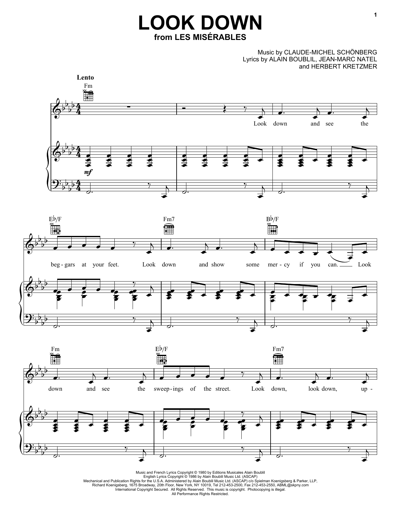 Download Alain Boublil Look Down sheet music and printable PDF score & Broadway music notes