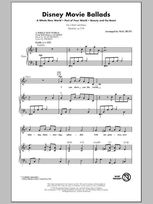 Download Alan Menken Disney Movie Ballads (Medley) (arr. Mac Huff) sheet music and printable PDF score & Film and TV music notes