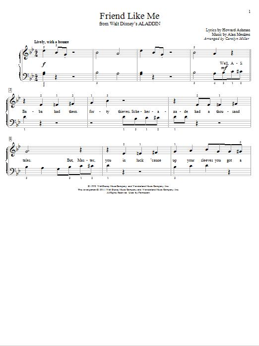 Download Alan Menken Friend Like Me (from Aladdin) (arr. Carolyn Miller) sheet music and printable PDF score & Children music notes