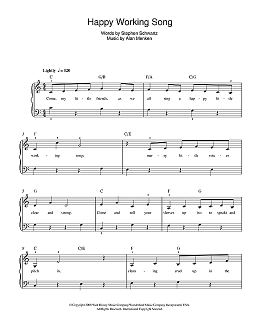 Download Alan Menken Happy Working Song (from Enchanted) sheet music and printable PDF score & Film and TV music notes