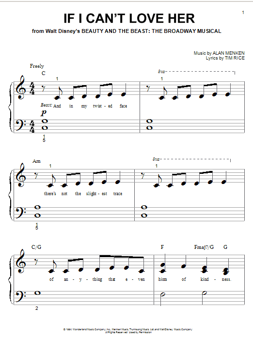 Download Alan Menken If I Can't Love Her sheet music and printable PDF score & Broadway music notes