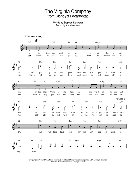 Alan Menken 'The Virginia Company (from Pocahontas)' Sheet Music Notes,  Chords | Download Printable Melody Line, Lyrics & Chords - SKU: 14140