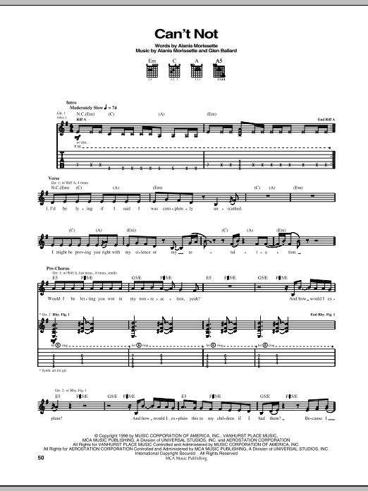 Download Alanis Morissette Can't Not sheet music and printable PDF score & Rock music notes