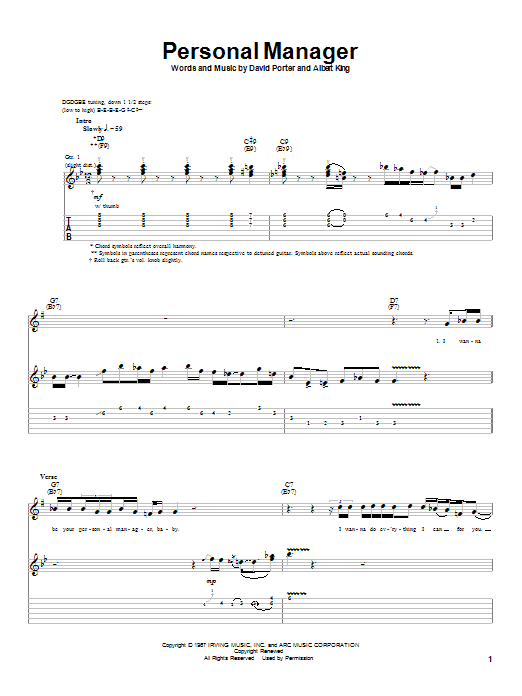 Download Albert King Personal Manager sheet music and printable PDF score & Blues music notes
