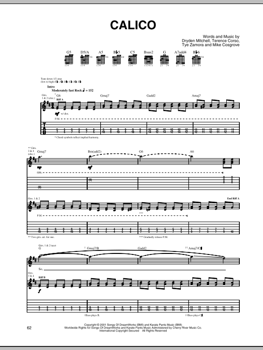 Download Alien Ant Farm Calico sheet music and printable PDF score & Rock music notes