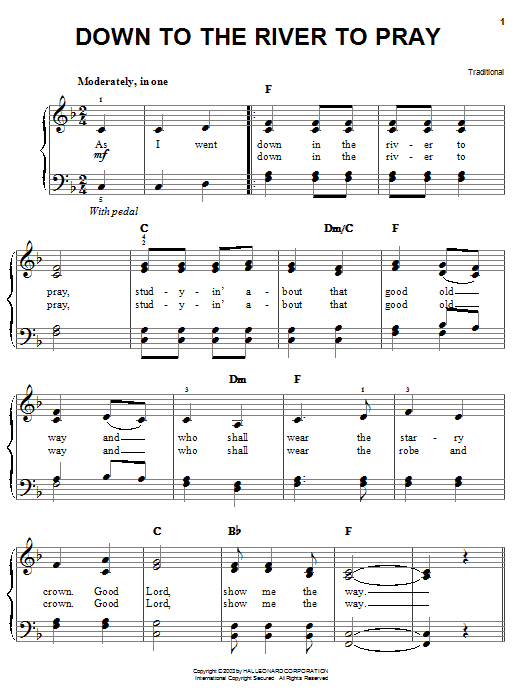 Download Alison Krauss Down To The River To Pray sheet music and printable PDF score & Country music notes