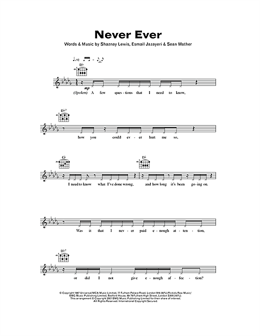 Download All Saints Never Ever sheet music and printable PDF score & R & B music notes