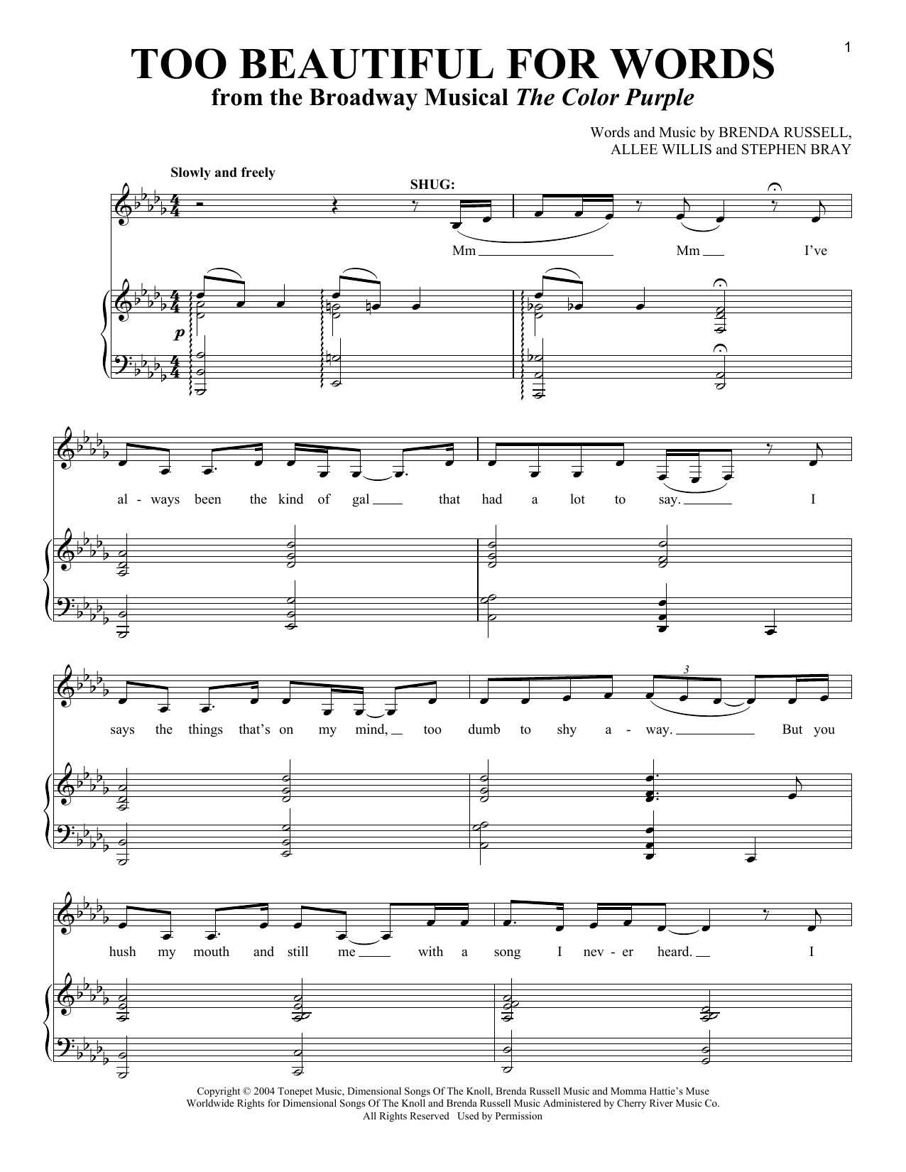 Download Allee Willis Too Beautiful For Words sheet music and printable PDF score & Musicals music notes