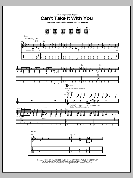 Download Allman Brothers Band Can't Take It With You sheet music and printable PDF score & Pop music notes