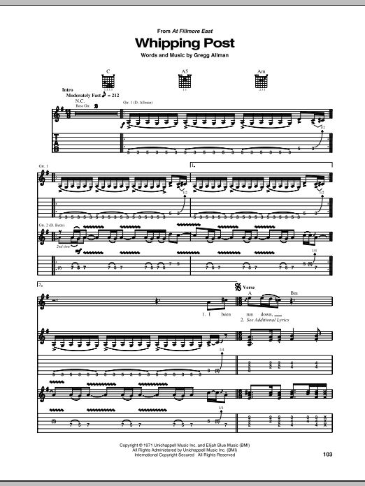 Download The Allman Brothers Band Whipping Post sheet music and printable PDF score & Country music notes