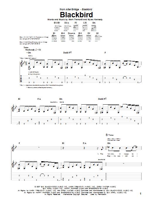 Download Alter Bridge Blackbird sheet music and printable PDF score & Pop music notes