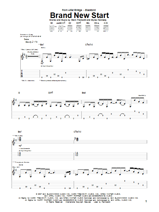 Download Alter Bridge Brand New Start sheet music and printable PDF score & Pop music notes