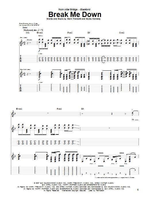 Download Alter Bridge Break Me Down sheet music and printable PDF score & Pop music notes