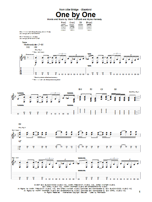 Download Alter Bridge One By One sheet music and printable PDF score & Pop music notes
