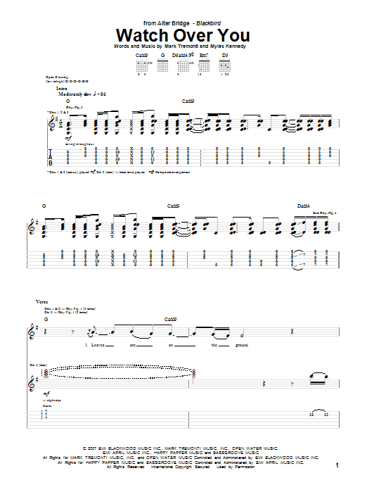 Download Alter Bridge Watch Over You sheet music and printable PDF score & Pop music notes