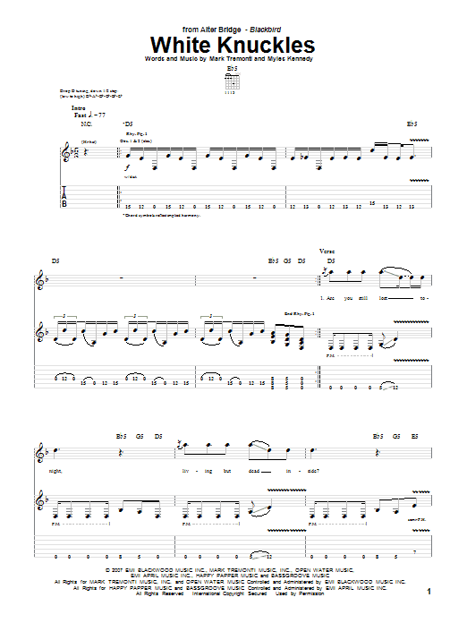 Download Alter Bridge White Knuckles sheet music and printable PDF score & Pop music notes
