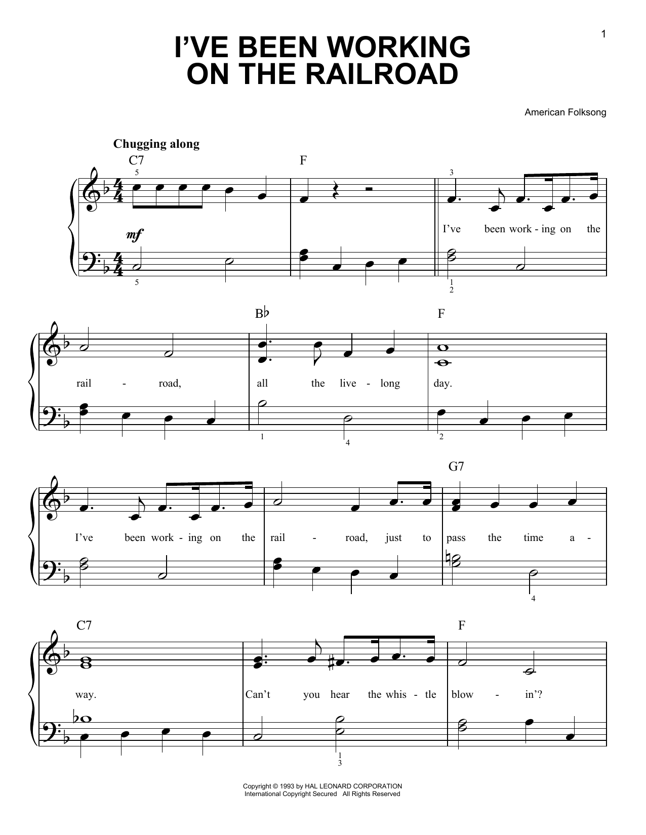 Download American Folk Song I've Been Working On The Railroad sheet music and printable PDF score & Children music notes