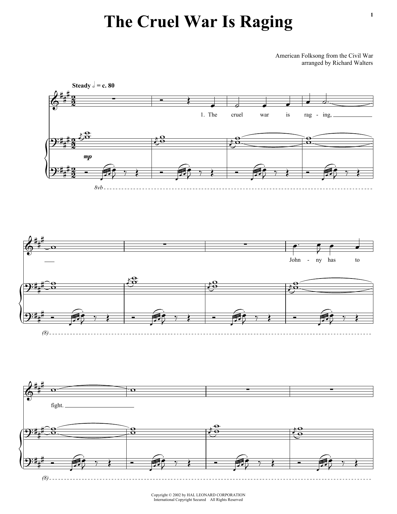 Download American Folk Song The Cruel War Is Raging sheet music and printable PDF score & Folk music notes