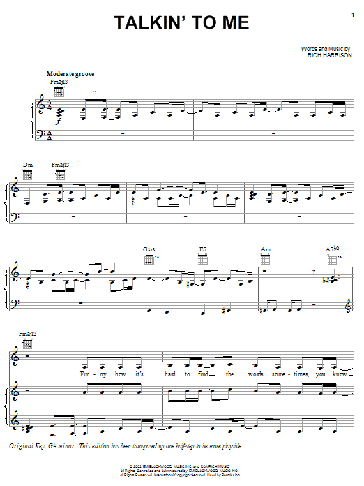 Download Amerie Talkin' To Me sheet music and printable PDF score & Pop music notes
