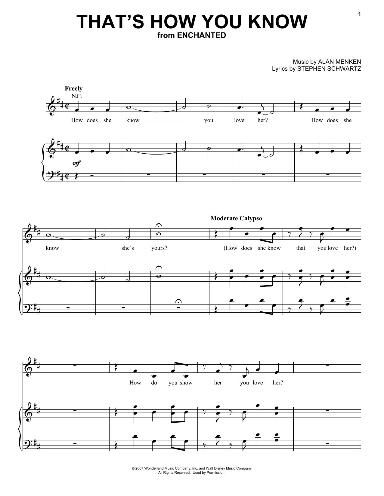 Download Amy Adams That's How You Know (from Enchanted) sheet music and printable PDF score & Pop music notes