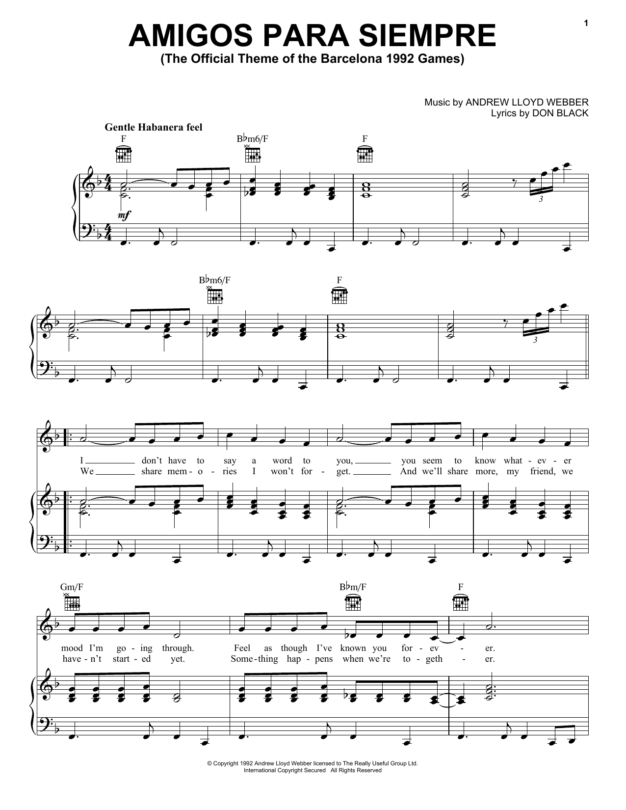 Download Andrew Lloyd Webber Amigos Para Siempre (Friends For Life) sheet music and printable PDF score & Musicals music notes