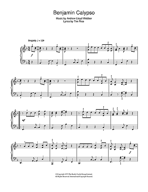 Download Andrew Lloyd Webber Benjamin Calypso (from Joseph And The Amazing Technicolor Dreamcoat) sheet music and printable PDF score & Musicals music notes