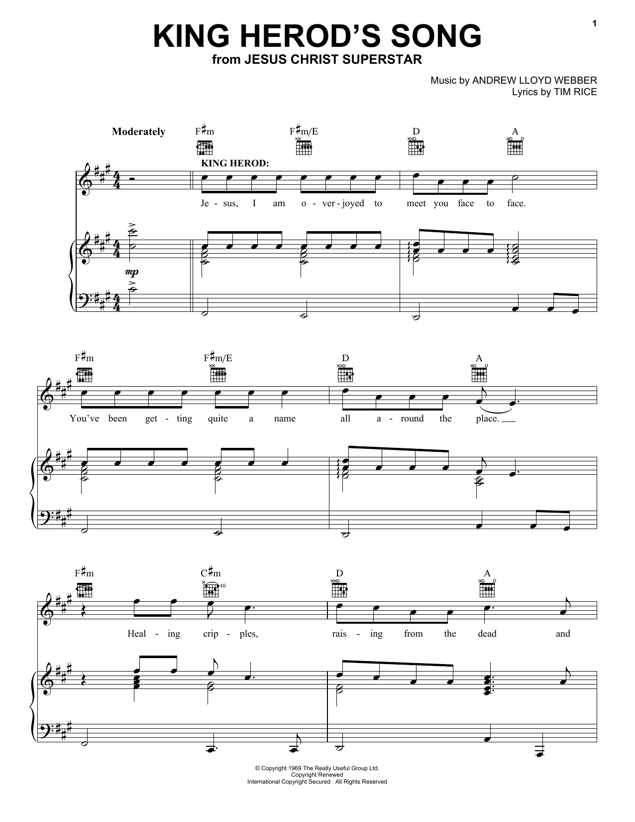 Download Andrew Lloyd Webber King Herod's Song sheet music and printable PDF score & Broadway music notes