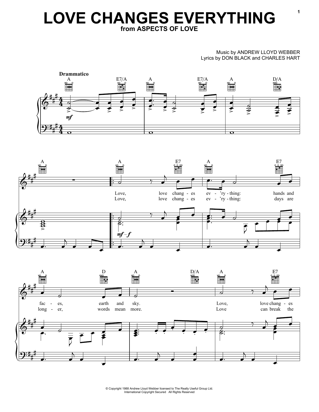 Download Andrew Lloyd Webber Love Changes Everything sheet music and printable PDF score & Musicals music notes