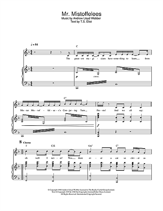 Andrew Lloyd Webber Mr Mistoffelees From Cats Sheet Music Download Printable Musical Show Pdf Lead Sheet Fake Book Score Sku 251901