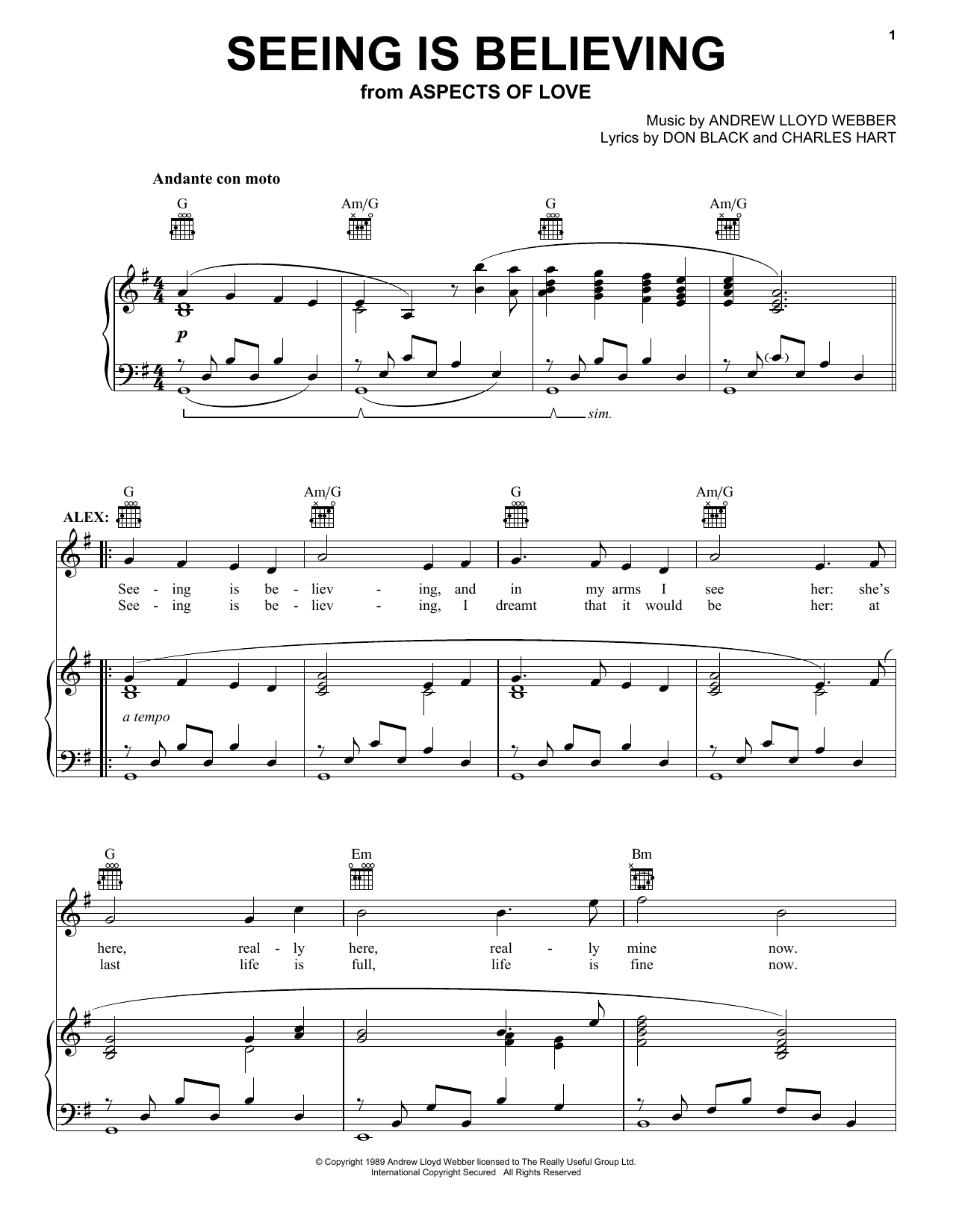 Download Andrew Lloyd Webber Seeing Is Believing (from Aspects of Love) sheet music and printable PDF score & Musicals music notes